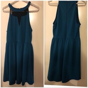 Teal green and black dress